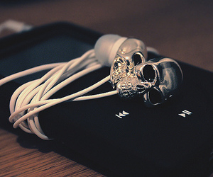 skull, music, and headphones image