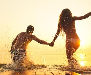 beach, girlfriend, and boyfriend image