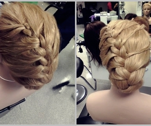 blonde, cosmetology, and braids image