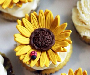 cupcake, sunflower, and dessert image