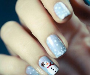 snowman, nails, and winter image