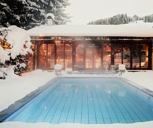 pool, snow, and winter image