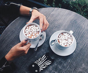coffee, marshmallow, and drink image