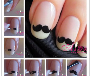 nails, moustache, and nail art image