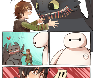 baymax, toothless, and hiro image