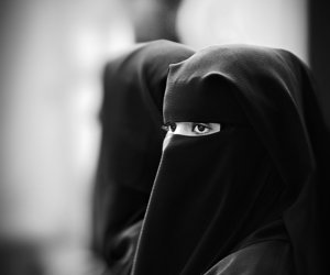 black and white, girl, and islam image