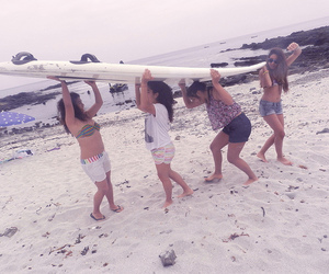 girls, summer, and surf image