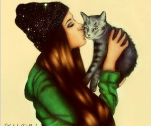 cat, girl, and drawing image