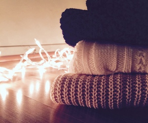 lights, sweater, and christmas image
