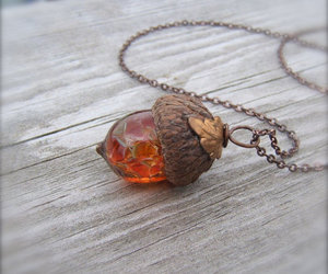 necklace, acorn, and fall image