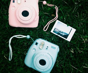 camera, pink, and blue image