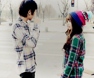 cute, couple, and girl image
