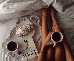 coffee, vogue, and bed image