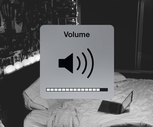 music, volume, and black and white image