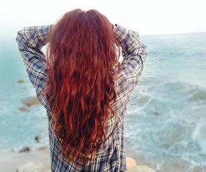 beach, flannel, and hair image
