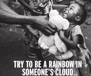 rainbow, clouds, and child image