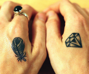 tattoo, diamond, and feather image