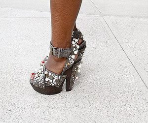 fashion, heels, and pearls image