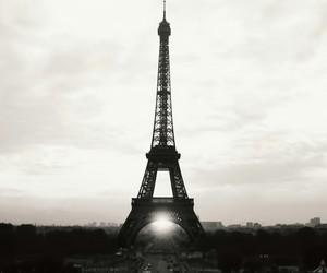 black&white, eiffel tower, and paris image