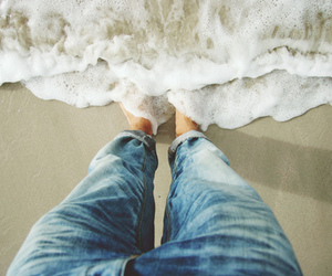 beach, jeans, and sea image