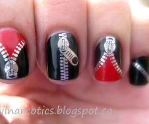 nails, zipper, and black image