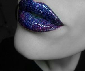 lips, lipstick, and galaxy image
