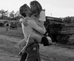 b&w, girl, and kiss image