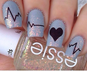 nails, heart, and nail art image