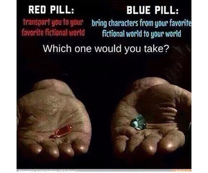pills, blue, and red image