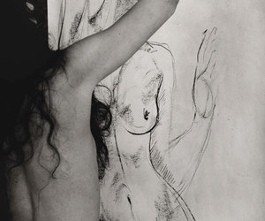 black and white, naked, and love image