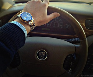 rolex, watch, and car image