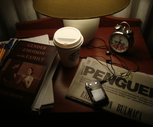 book, clock, and coffee image