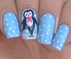 nail art, nails, and penguin image