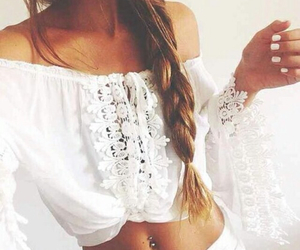 blouse, braid, and summer image