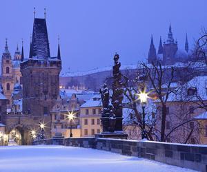 prague, snow, and travel image