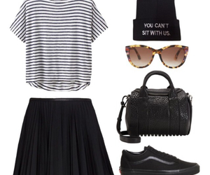 beanie, outfit, and purse image