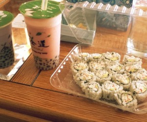boba, bubble tea, and sushi image