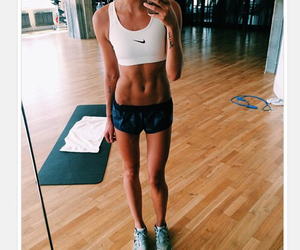 girl, fit, and abs image