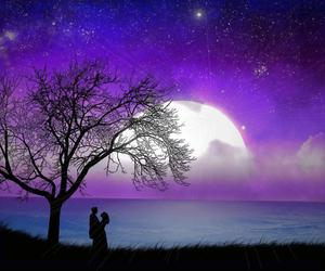 love, moon, and night image