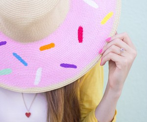 donuts, pink, and hat image