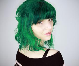 green hair, hair dye, and youtubers image