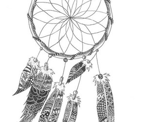 dreamcatcher, art, and black and white image