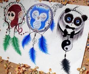 panda, owl, and monkey image