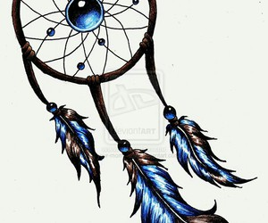 dreamcatcher, blue, and brown image