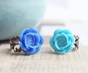blue, dark blue, and flowers image