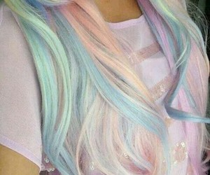 hair, pastel, and rainbow image