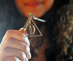 deathly hallows, harry potter, and necklace image