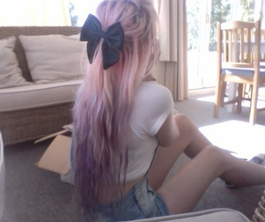 bow, pink, and hair image