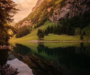 green, lake, and mountain image