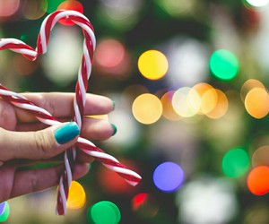 candy canes, pretty, and christmas ornaments image